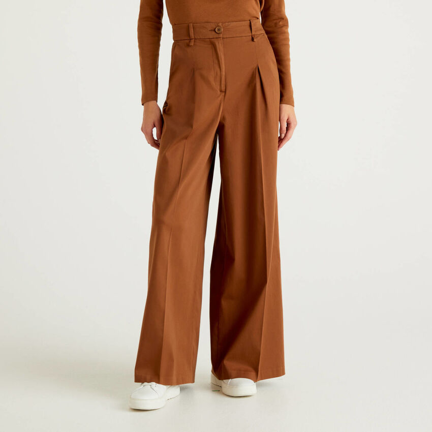 Palazzo trousers in satin cotton blend
