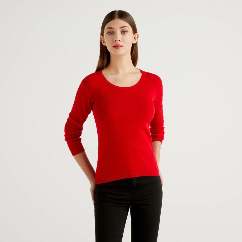 Crew neck sweater in pure cotton