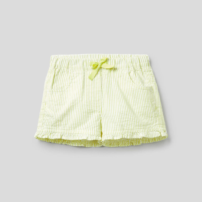 100% cotton yellow striped shorts