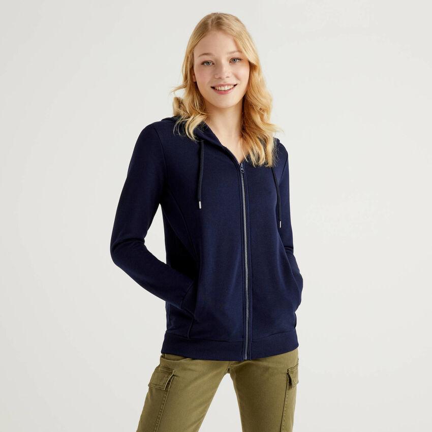 Zip-up hoodie in 100% cotton