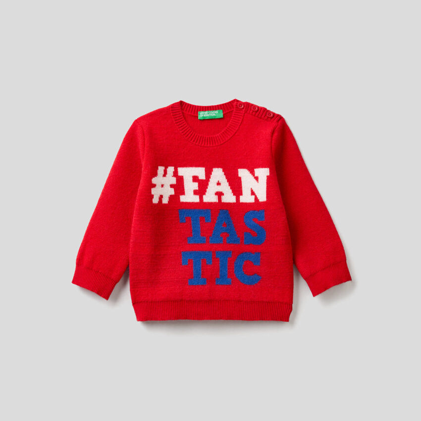 Sweater with inlaid text