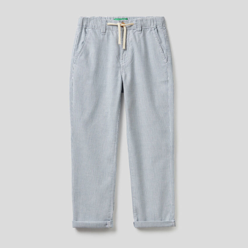 Striped trousers in 100% cotton