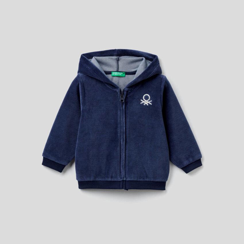 Chenille sweatshirt with zip and hood