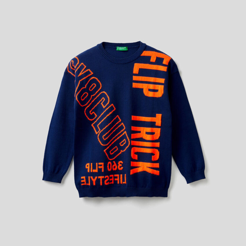 Sweater with neon text