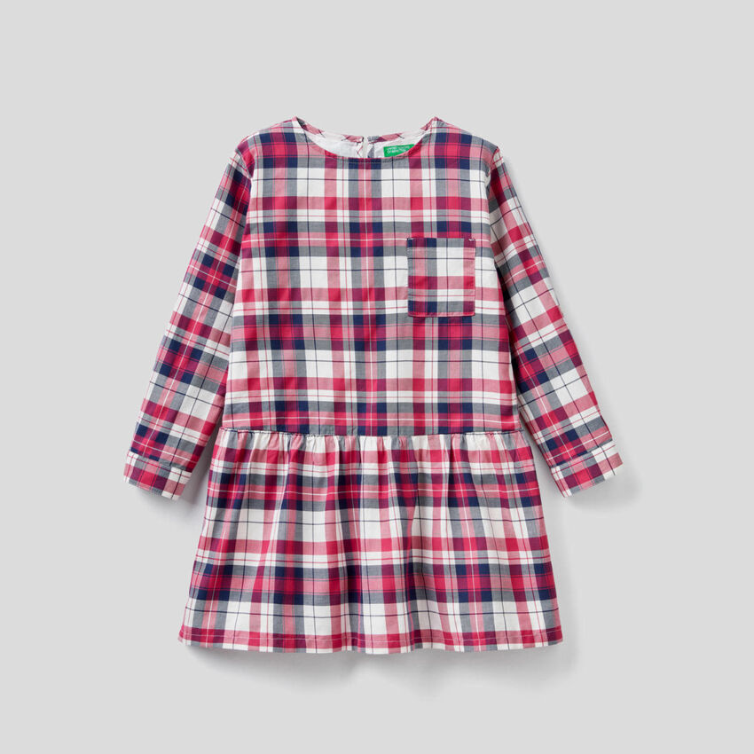 Check dress in cotton blend