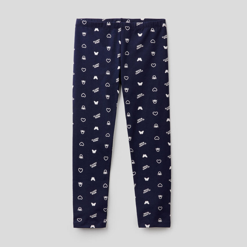 Printed leggings in stretch cotton