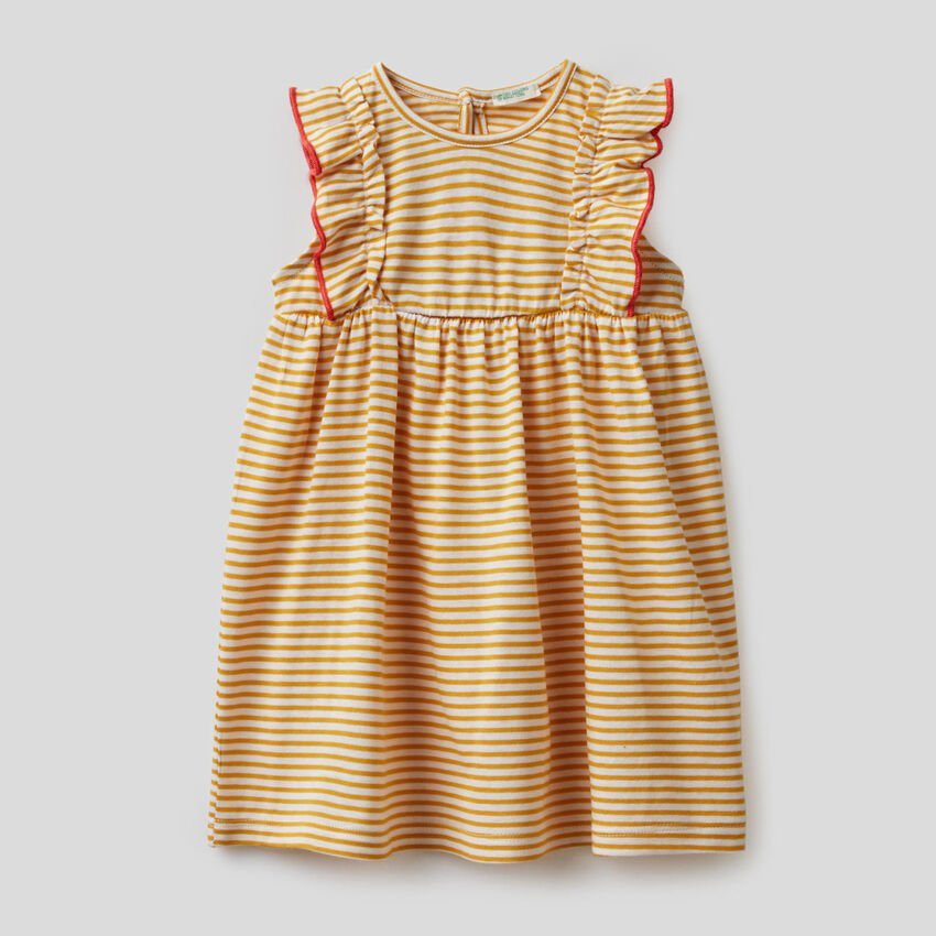 Striped dress in 100% organic cotton