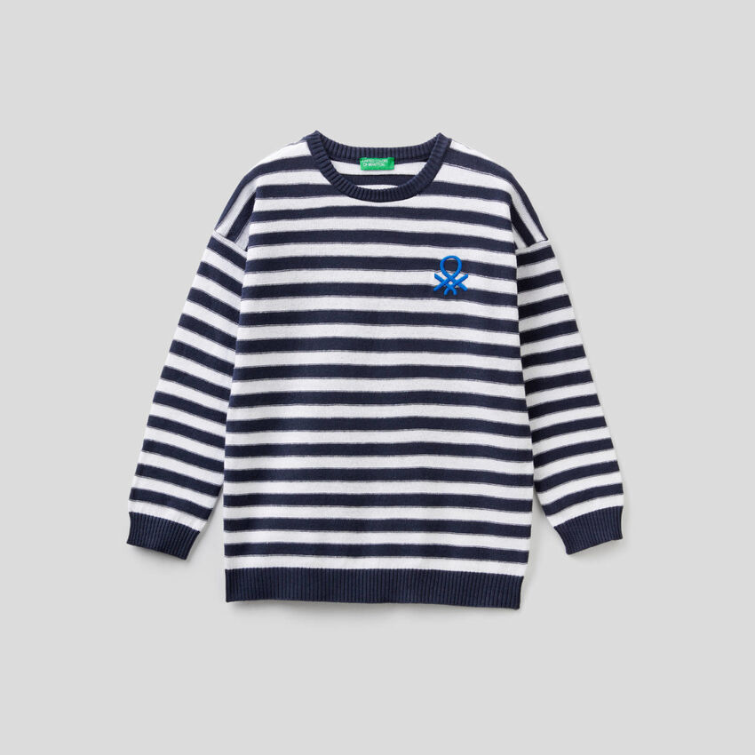 Striped sweater with logo
