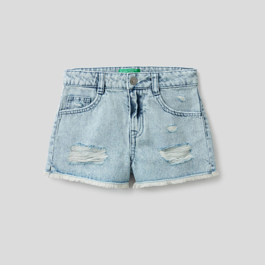 Worn look jeans shorts