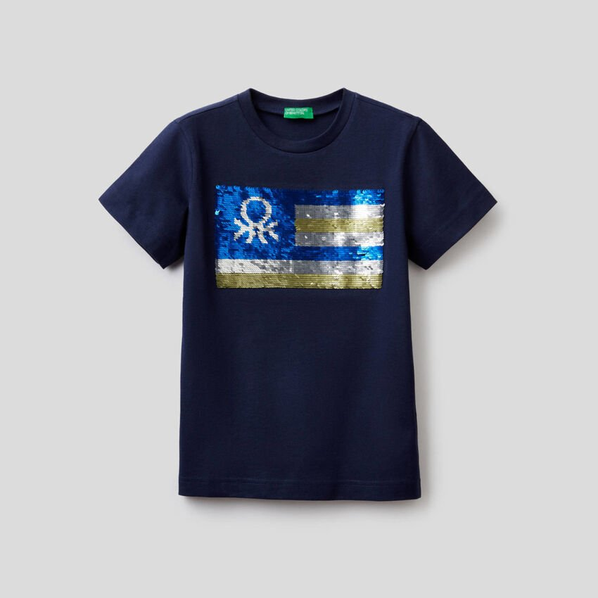 Pure cotton t-shirt with sequins