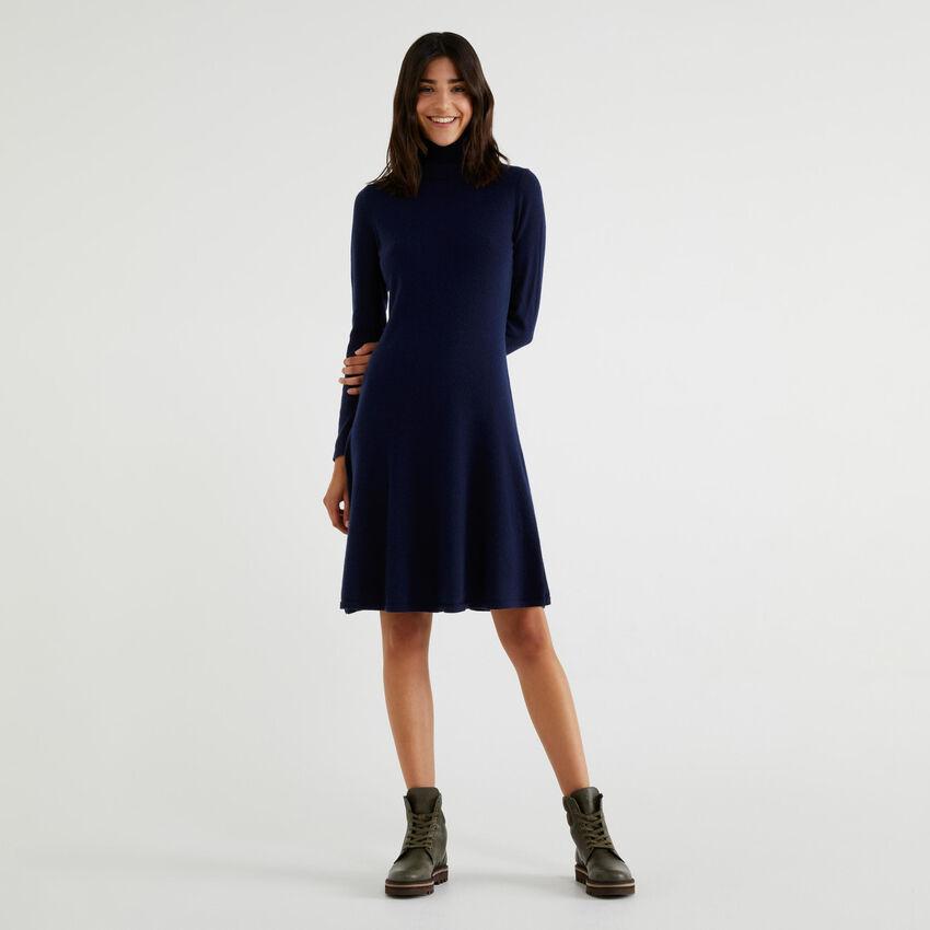 High neck knit dress