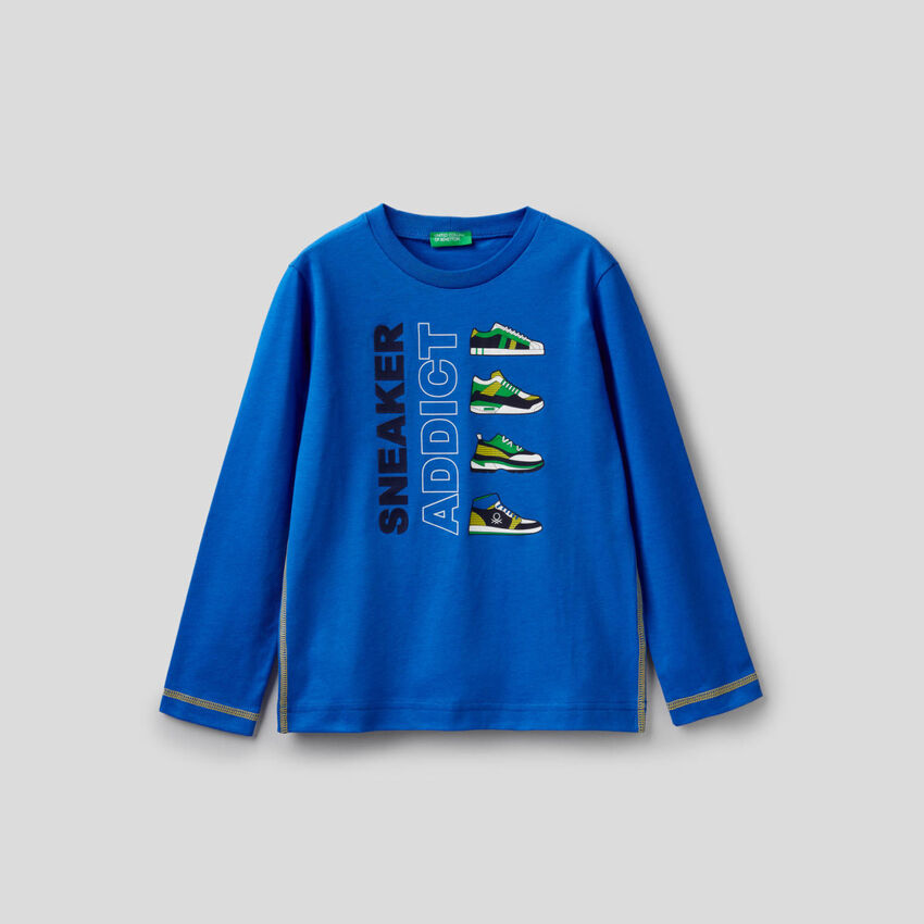 Light blue t-shirt with long sleeves in 100% cotton