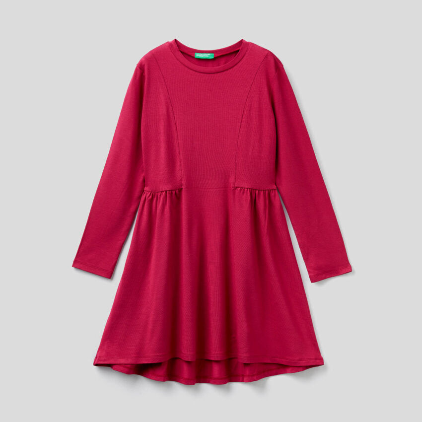 Long sleeve solid colored dress