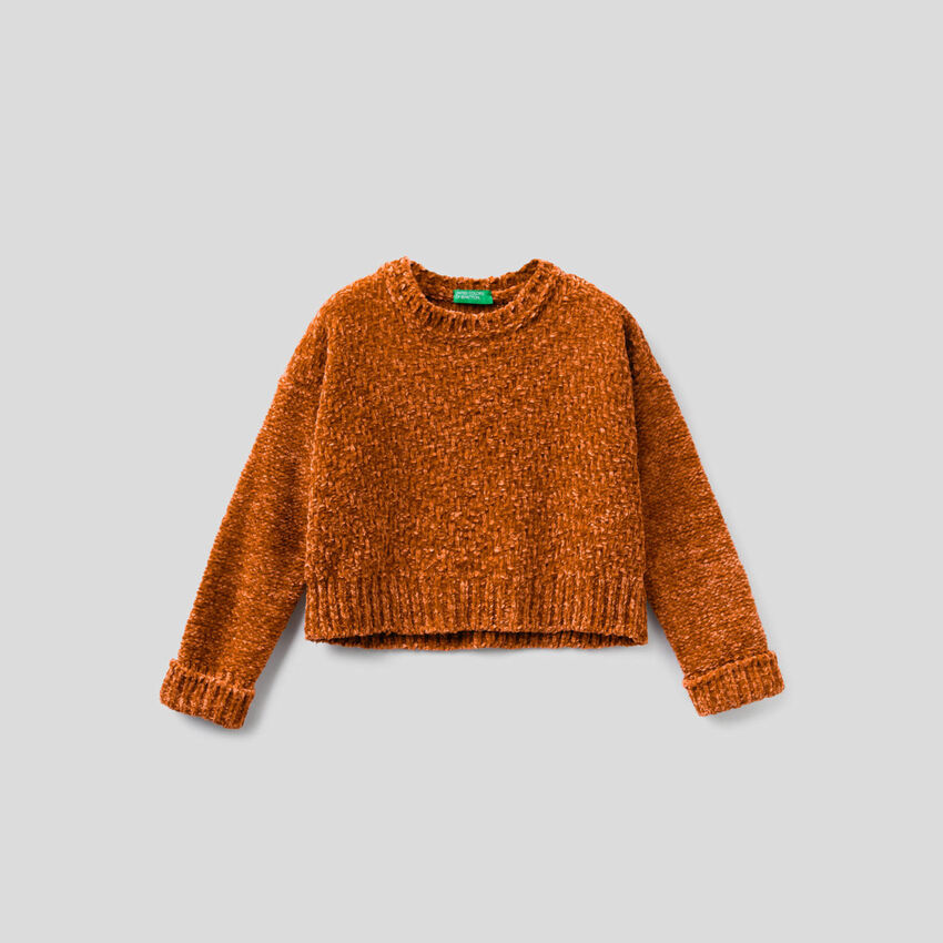 Cropped chenille sweater