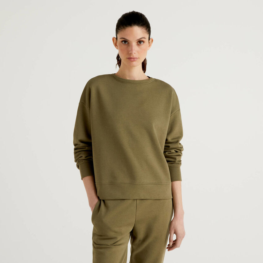 Army green sweatshirt in cotton blend