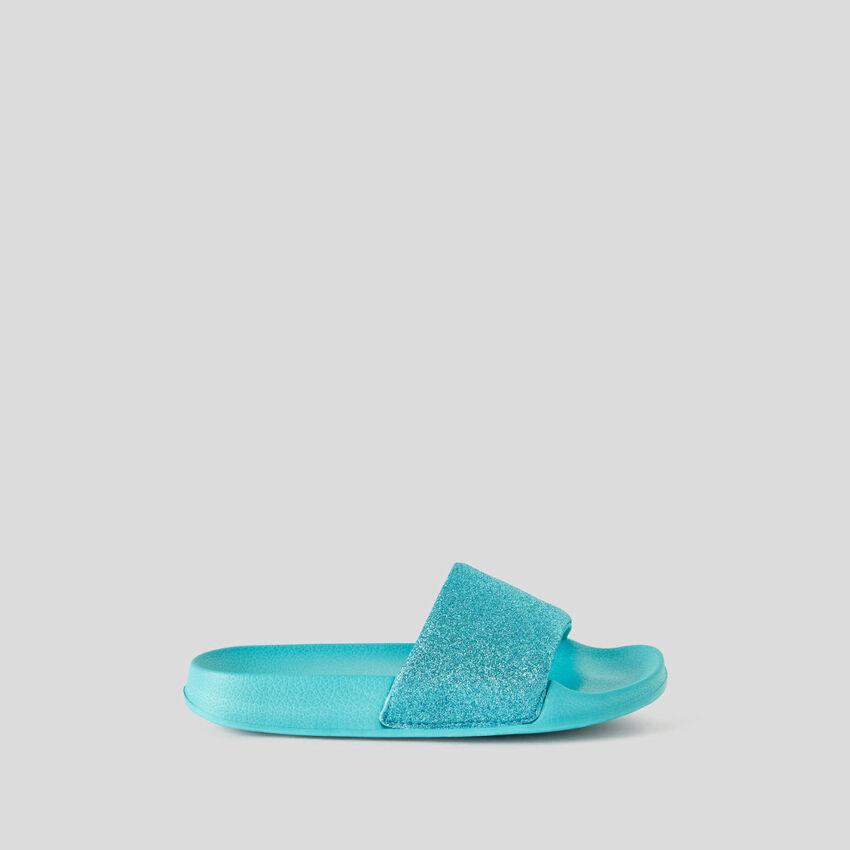 Glittery aqua green slippers