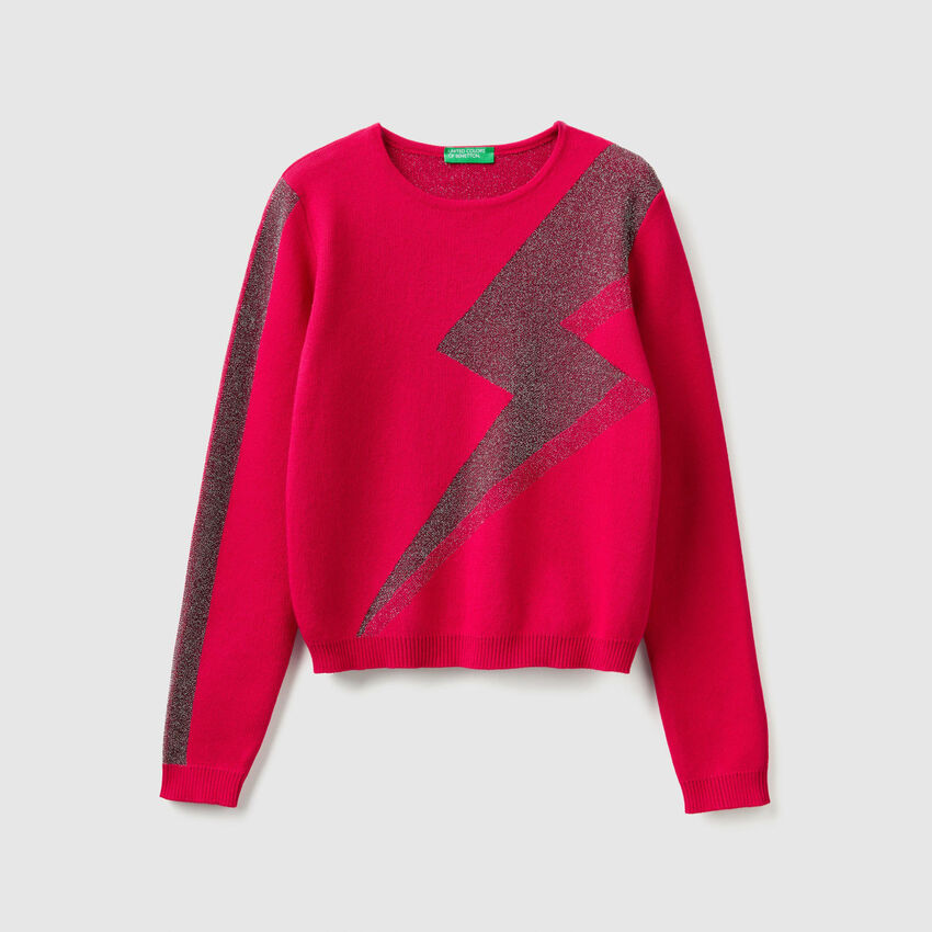 Sweater with lurex graphics