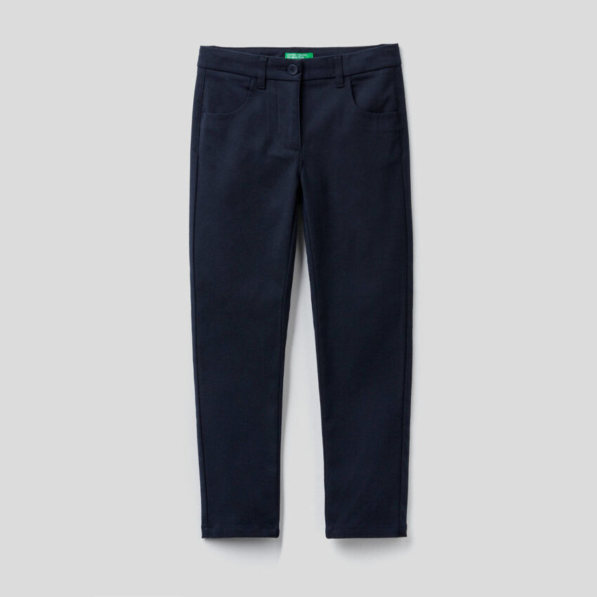 Skinny fit trousers in stretch flannel