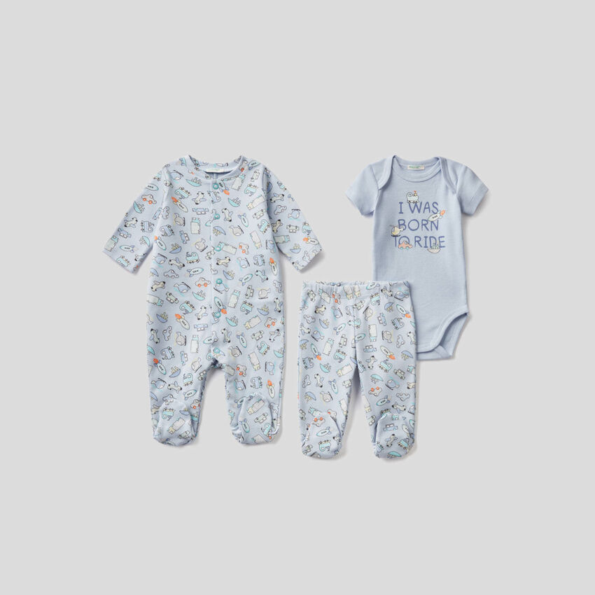 3 layettes in organic cotton