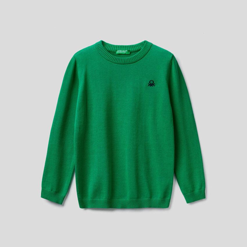 Crew neck sweater in 100% cotton.