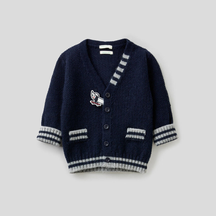 Cardigan in wool blend with patches