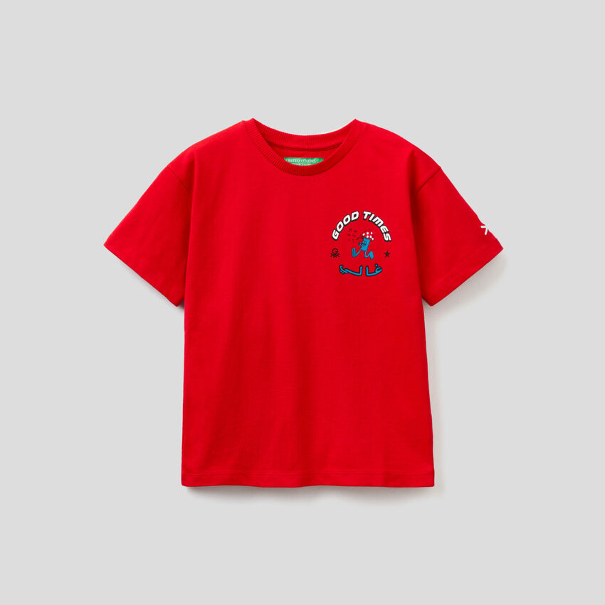 Red unisex t-shirt with print by Ghali