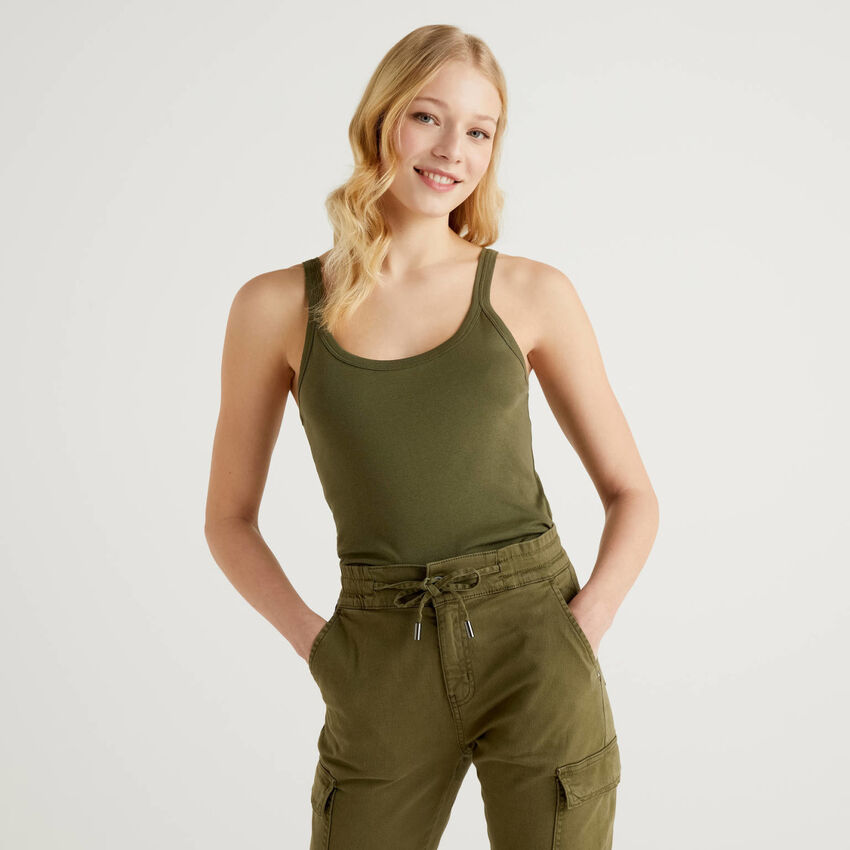 Military green tank top in pure cotton