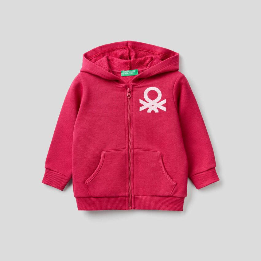 Cyclamen sweatshirt in organic cotton.