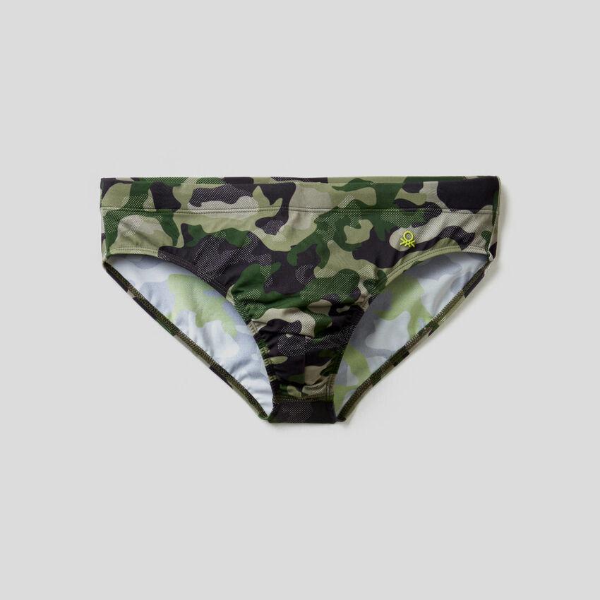 Camouflage print swim bottoms