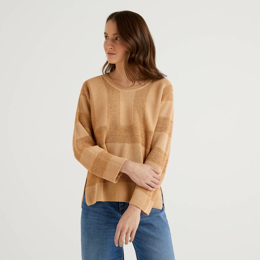 Striped sweater with lurex thread