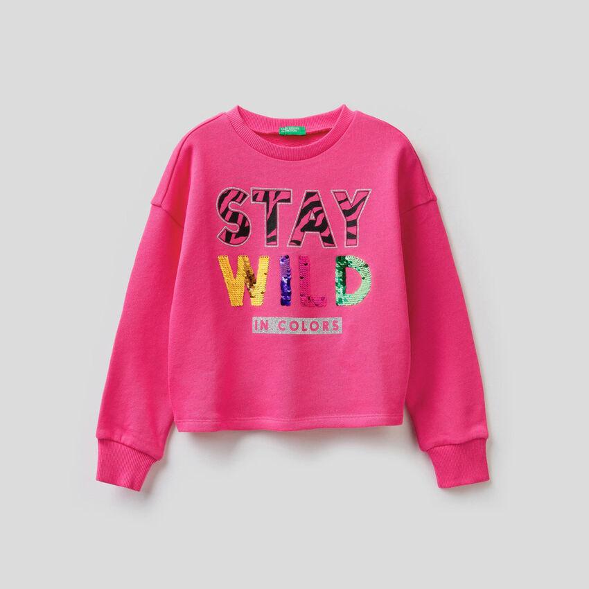 Sweatshirt in cotton with sequins