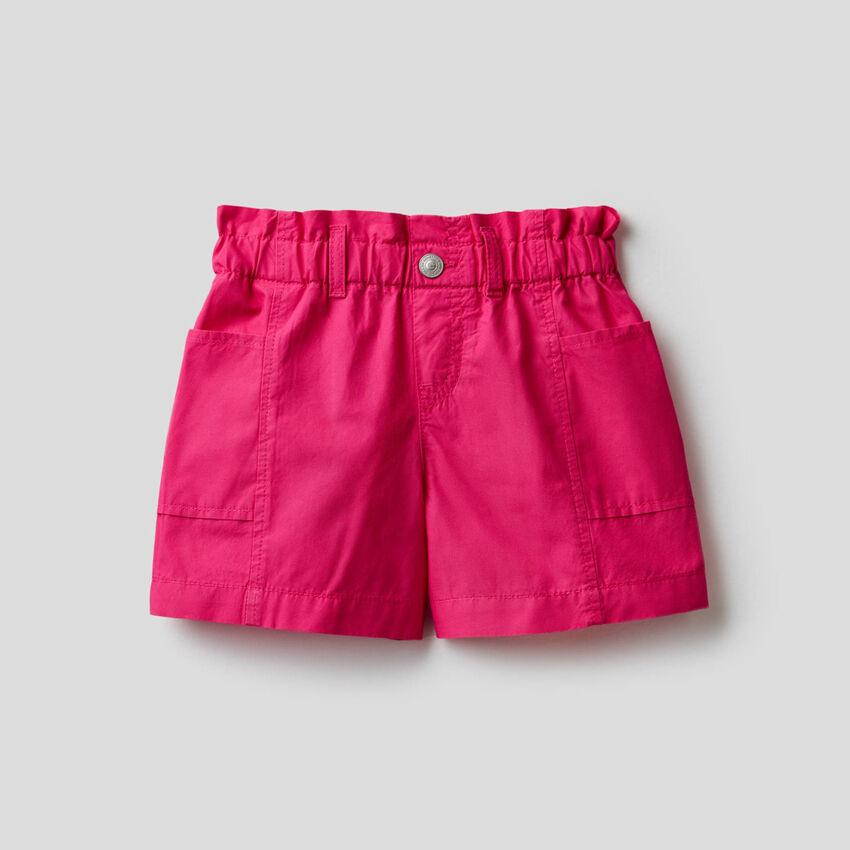 Paper bag shorts in 100% cotton