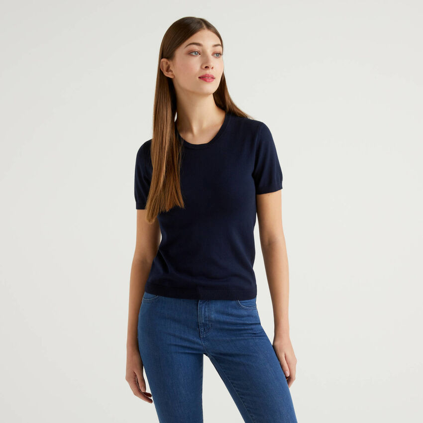 Short sleeve sweater in cotton blend