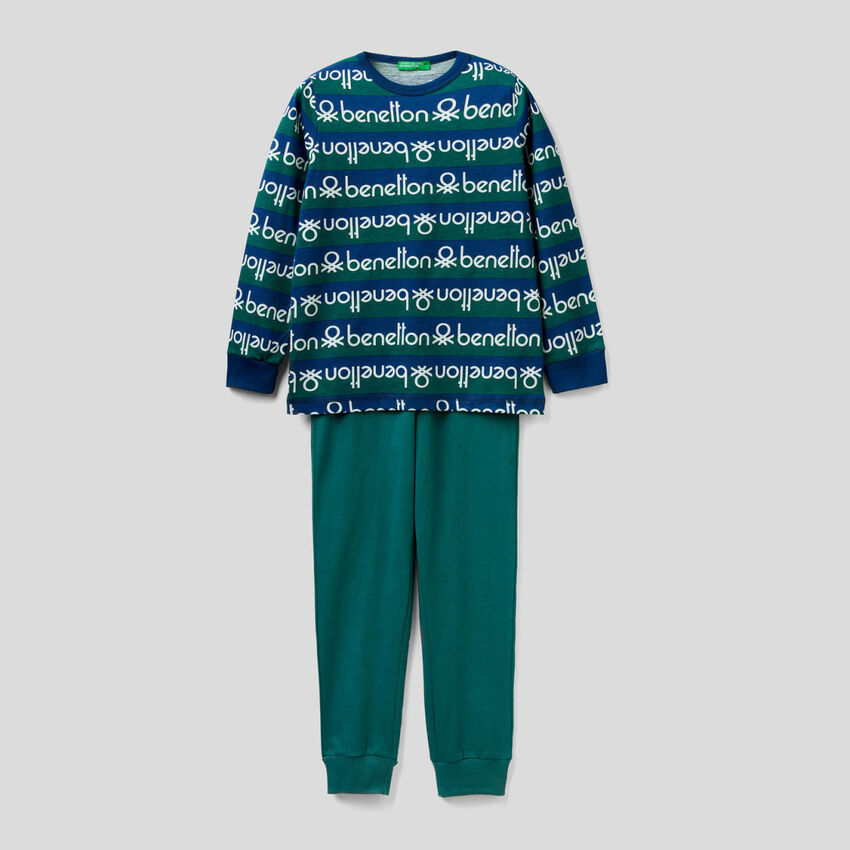Pyjamas with striped top and logo print