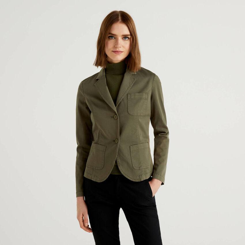 Stretch cotton flared blazer