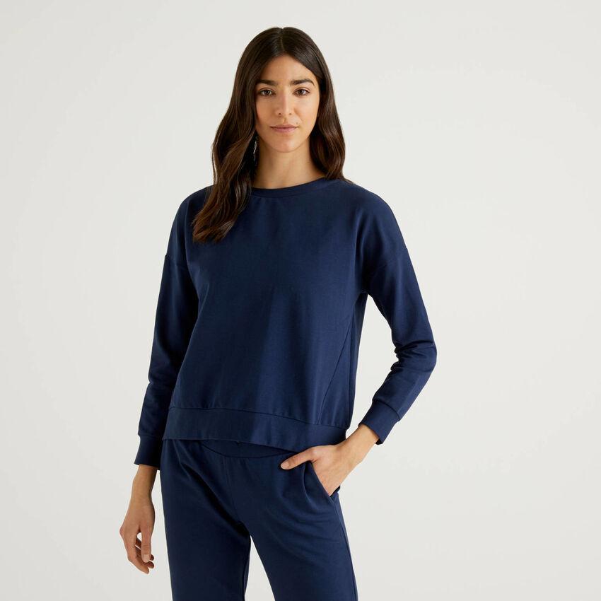 Flared sweatshirt in stretch cotton