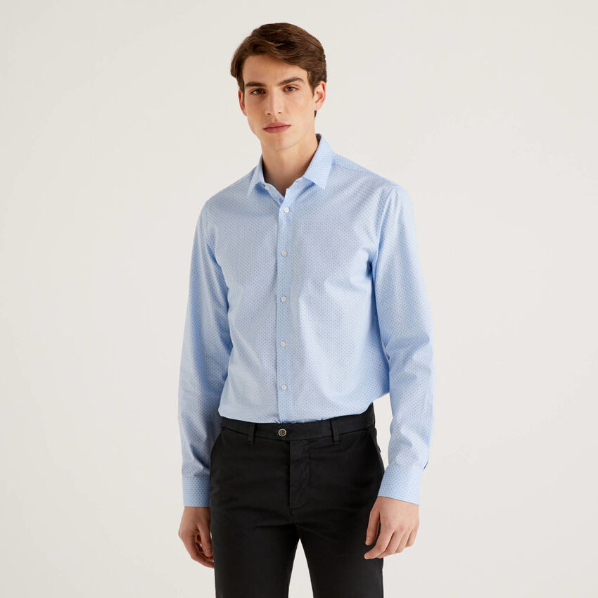 Slim fit shirt in print cotton