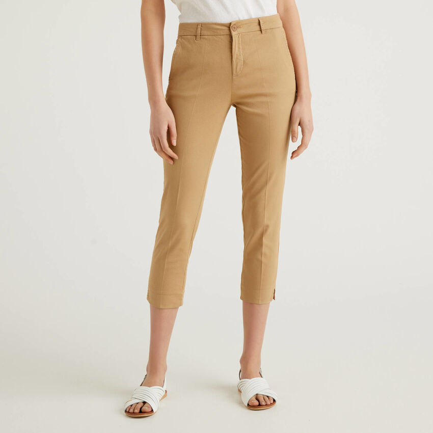 Cropped chinos in stretch cotton