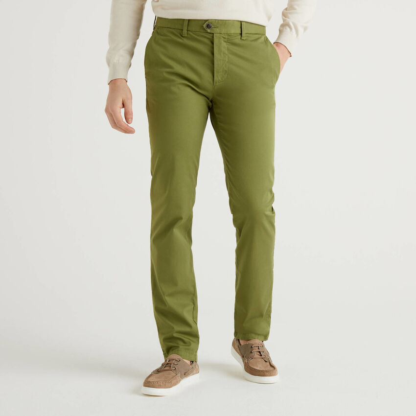 Military green slim fit stretch chinos