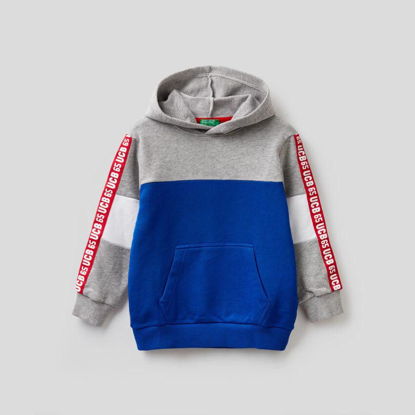 Color block sweatshirt in pure cotton