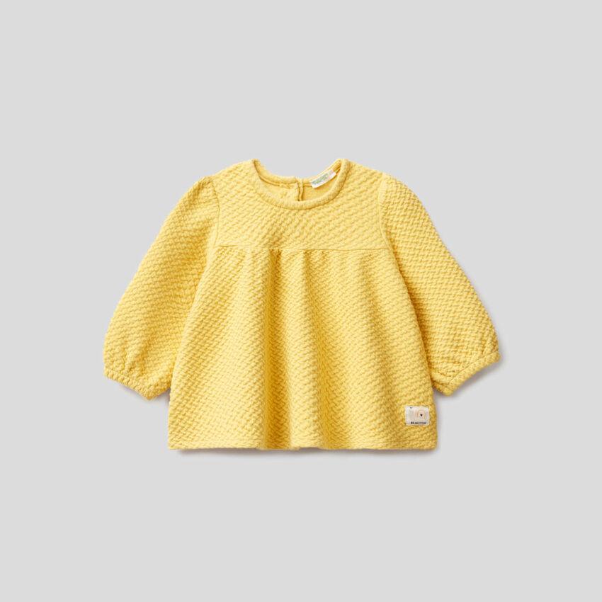 Sweatshirt in knit stretch organic cotton