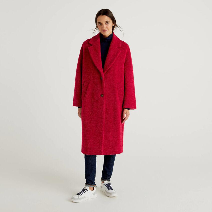 Long bouclé look coat