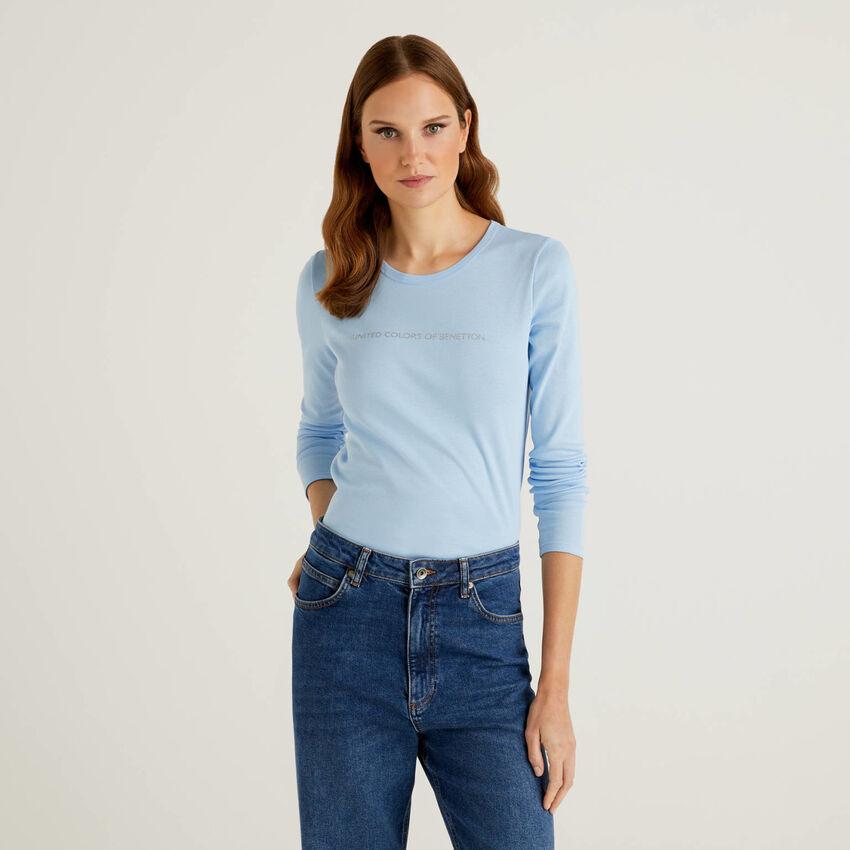 100% cotton long sleeve light blue t-shirt