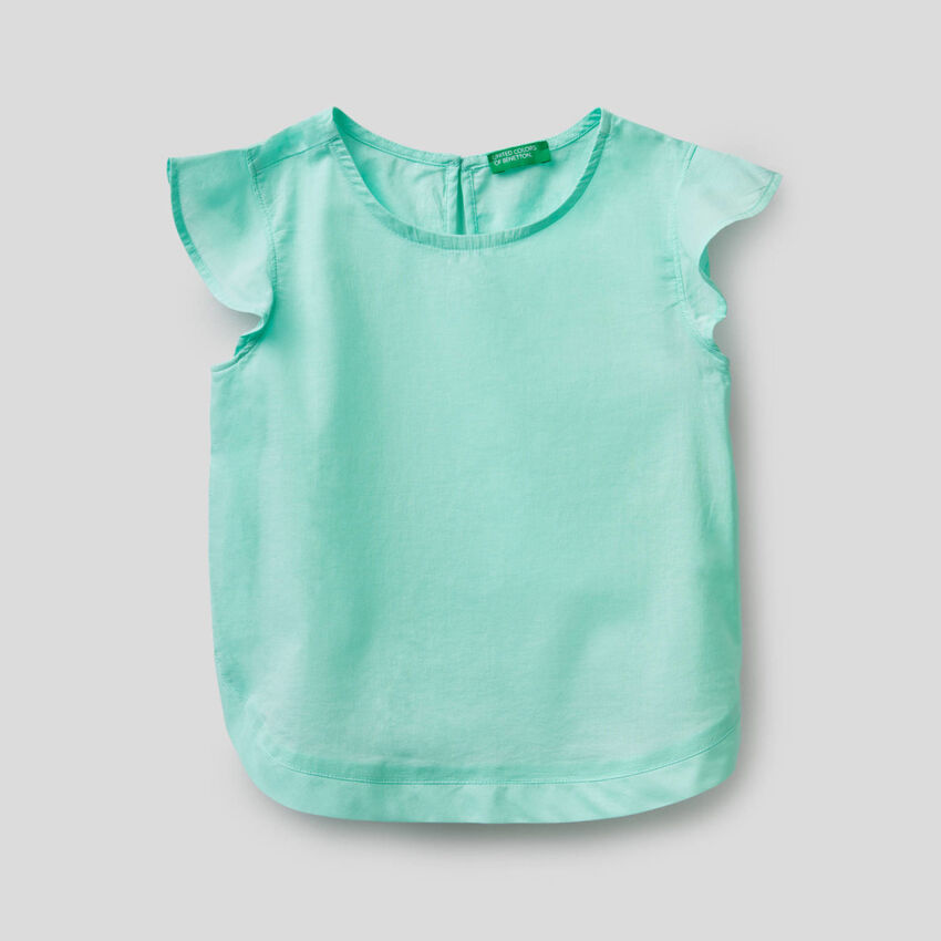Cotton blouse with ruffle sleeves