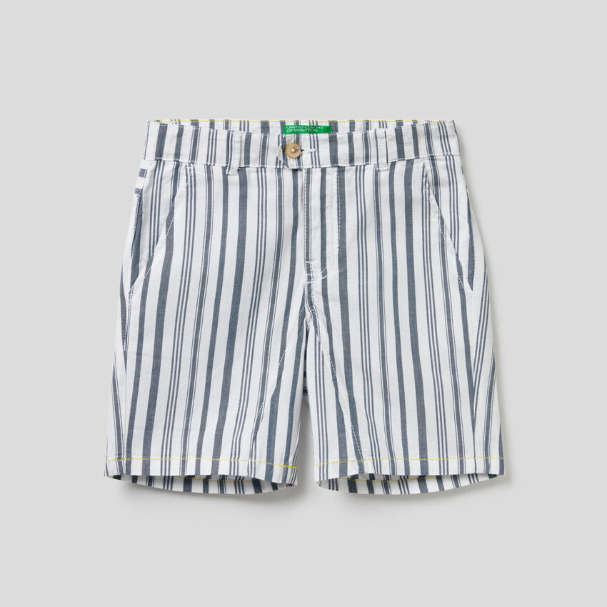 Striped bermudas in 100% cotton