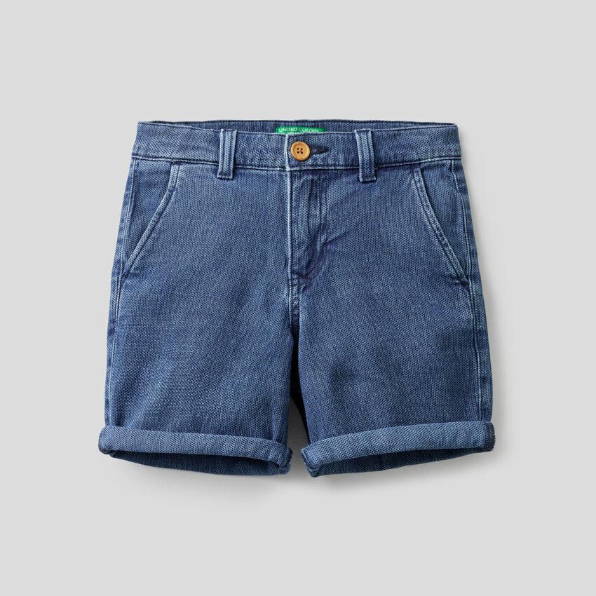 Shorts in stretch cotton denim