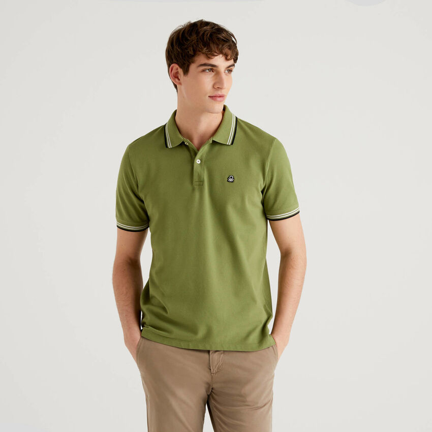Short sleeve stretch cotton polo