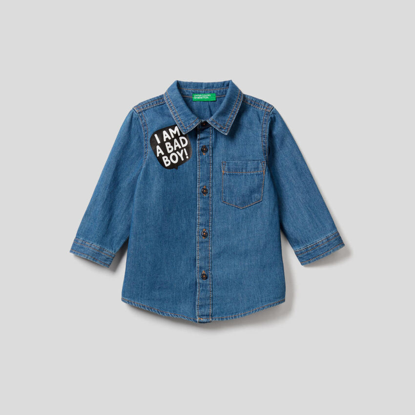 Jean shirt in 100% lightweight cotton