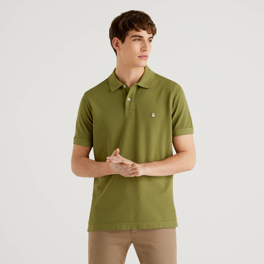 Military green regular fit polo