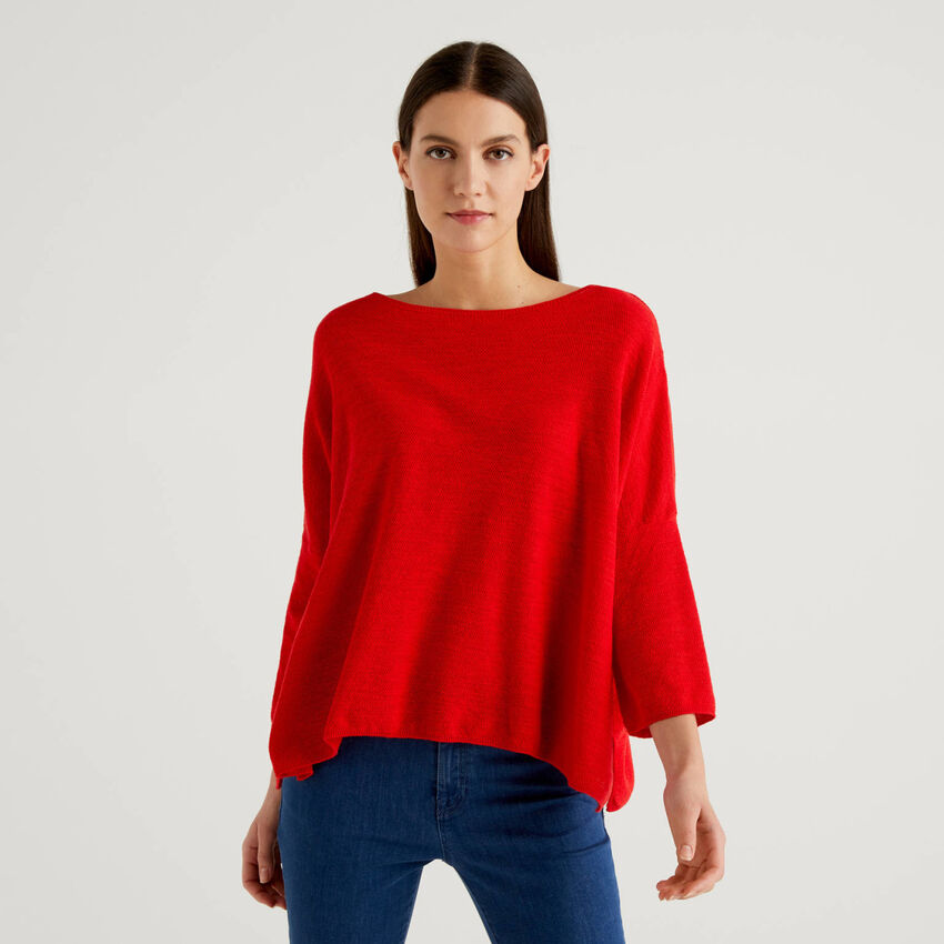 Knit sweater with boat neck
